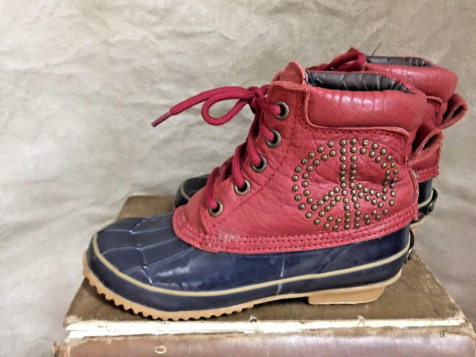 botas botas botas para mujer 6 36 Rubber Duck Muck signo de la paz tobillo Lucky Brand Rojo Azul Zapato  saludable