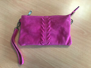 Details about Ladies Italian Real Suede Fuschia Pink Small Clutch Bag with Wrist Strap PS329