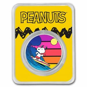 2021 Silver 1 Oz Peanuts Colorized Sunset Snoopy Surfing