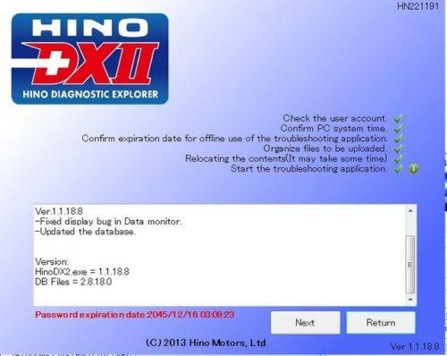 troubleshooti 2019 Hino DX2 v1.1.19.1 LATEST VERSION with 2.1.19.0 database
