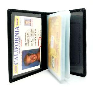Black-Genuine-Leather-Business-Card-Holder-ID-Bage-Pocket-Organizer-Wallet