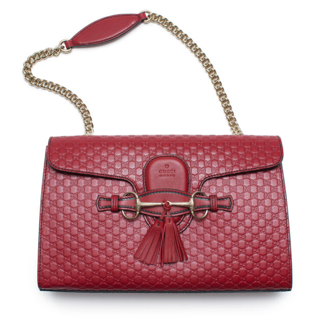 ce272c343 Gucci Emily Micro GG Burgundy Guccissima Red Leather Shoulder Handbag Bag  New