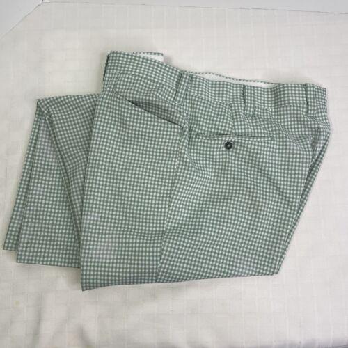 Haggar Green Plaid Check Leisure Golf Pants Vinta… - image 1