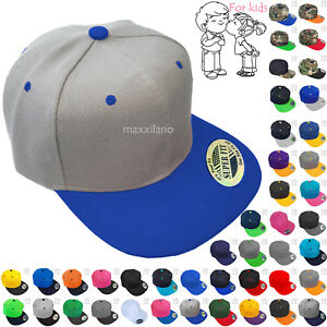 Baseball-Cap-Kids-Solid-Plain-Boys-Children-Snapback-Hat-Classic-Visor-Flat-Brim