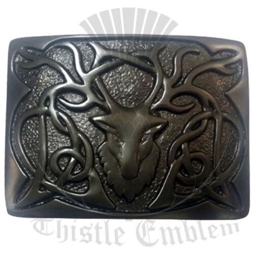 Men's Scottish Kilt Belt Buckle Stag Head Black Finish//Stag Head Belt Buckles