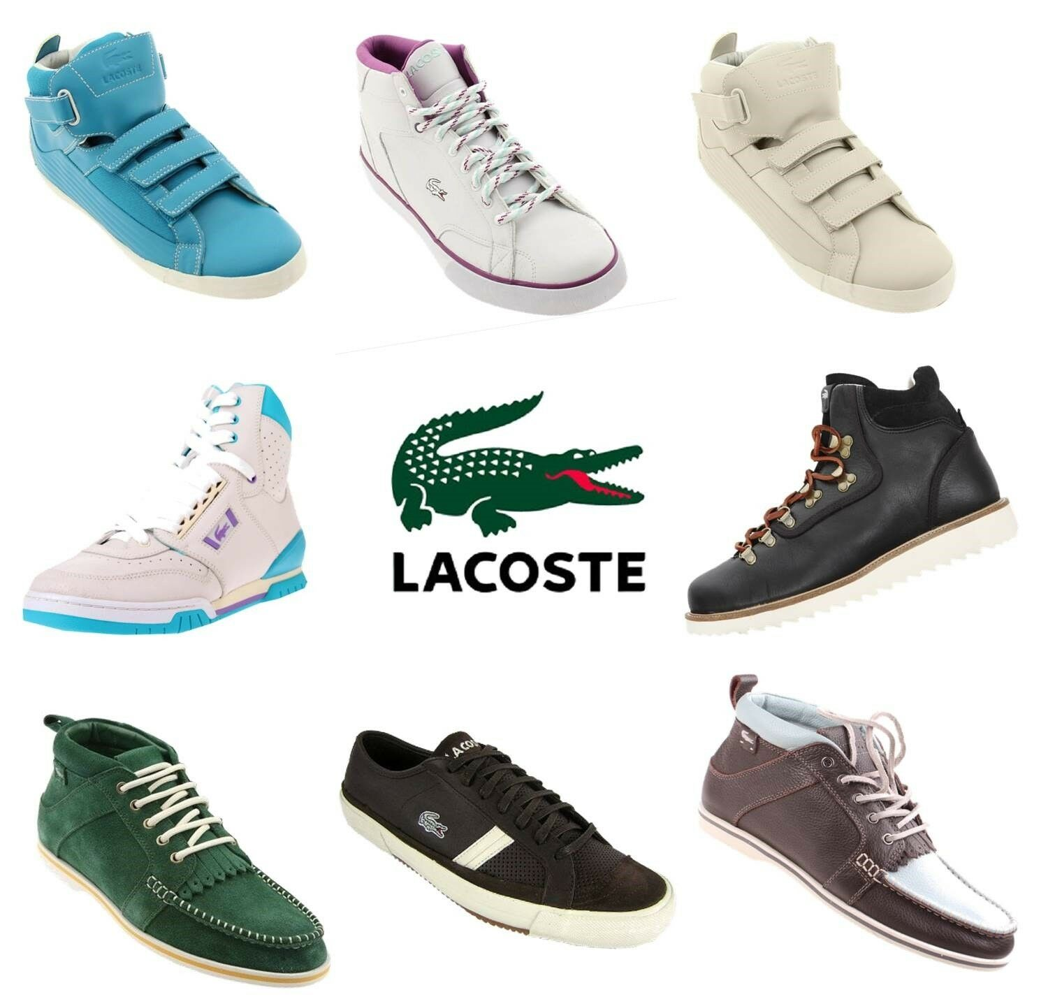 Lacoste shoes Trainers Hi Lo Top Lace Up Leather Smart Casual Footwear Size 6-10