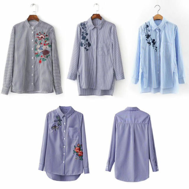 Fashion Women Long Sleeve Striped Embroidered Shirt Blouse Lapel T-shirts Tops
