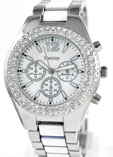 Ladies Really Sparkly Watch Genuine Crystals, White/Silver Tone, Henley Branded