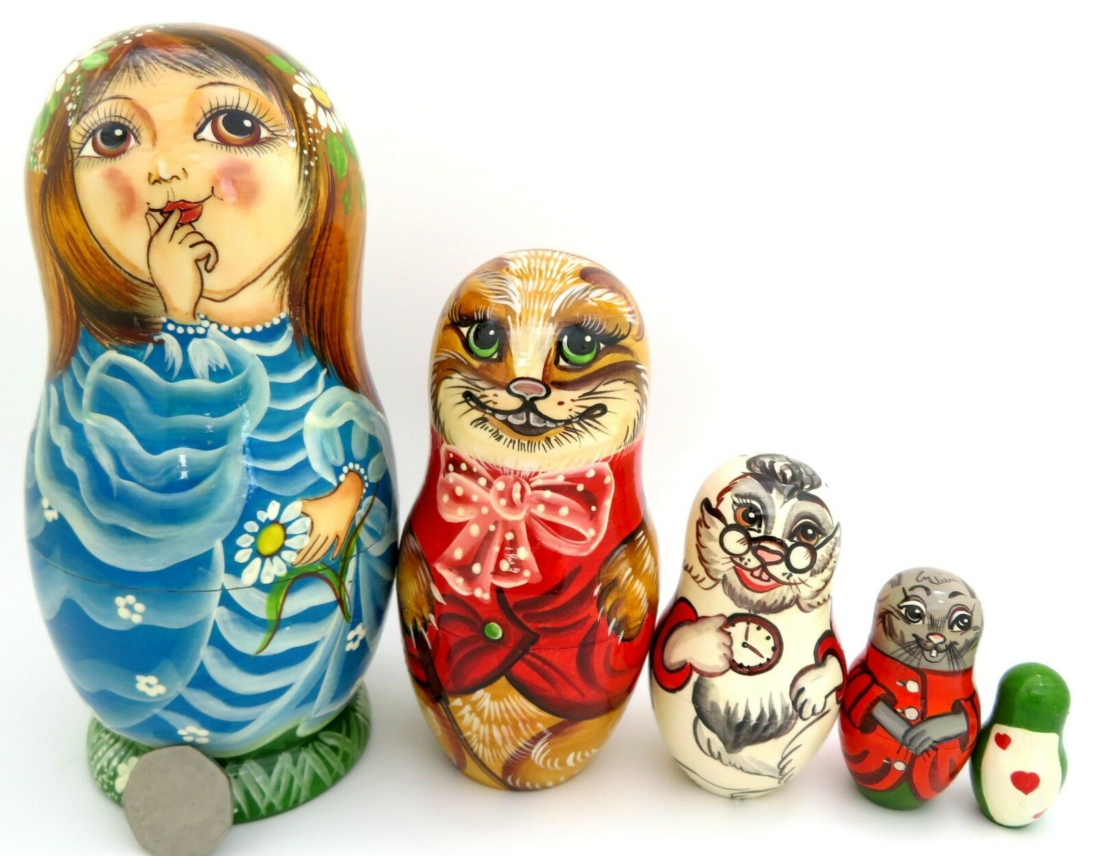 Dtuttia Russia Russe Matrioska 5 Alice  in Wonderle Cheshire Cat Coniglio Bianco  vendita online risparmia il 70%
