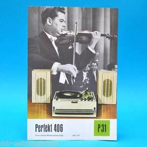 Perfekt-406-Heim-Stereo-Anlage-DDR-1971-Prospekt-Werbung-Werbeblatt-DEWAG-P31-E