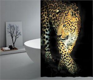 Europe design Cute leopard digital print fabric shower curtain new free shipping