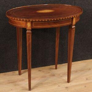 Tavolino inglese intarsiato conchiglia tavolo salotto legno mogano ...