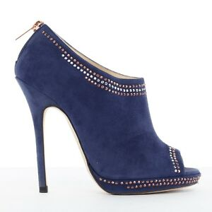 16a749809755 JIMMY CHOO cobalt blue silver copper micro studded peep toe bootie ...