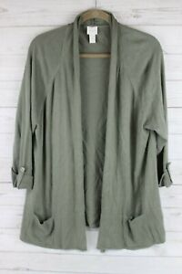 Chico-039-s-Olive-Green-Open-Front-Sweater-Knit-Cardigan-Size-3-XL-16