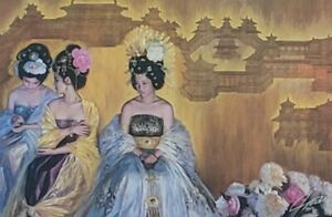 Signed JIA LU - TANG DYNASTY - Lithograph Framed Contemporary Asian Art Print