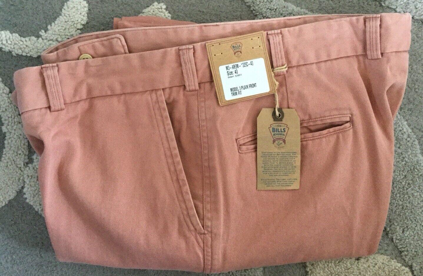 NWT-Bills khakis M3-AR6M Size 40X32 TRIM Cuffed PLAIN COTTON pink