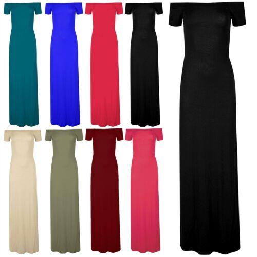 Womens Ladies Plain Off Shoulder Bardot Jersey Long Maxi Dress Plus Size 8-22