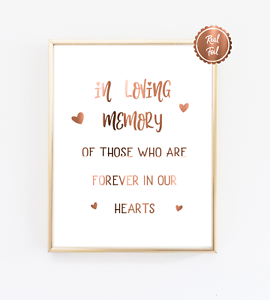 In loving memory sign for weddings or engagement parties / COPPER FOIL PRINT