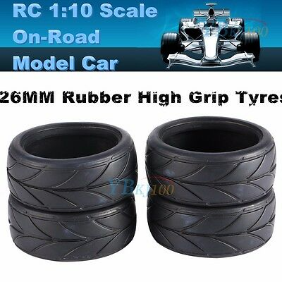 4PC RC 1:10 Scale On Road Racing Car 26mm Rubber Tyre Tire High Grip W/ Foam DIY