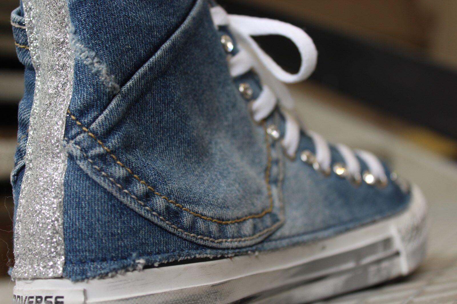 converse all star  con jeans piu' piu' piu' glitter fino argento e swaroski piu' sporcatur 2332f5