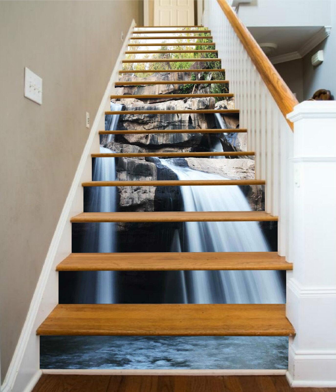 3D Fels Bach 042 Stair Risers Dekoration Fototapete Vinyl Aufkleber Tapete DE