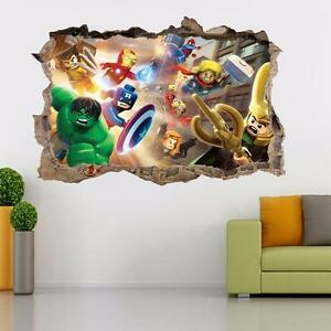 Lego Marvel Dc Smashed Wall 3d Decal Removable Graphic Wall Sticker