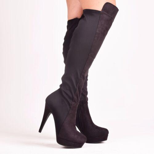 Ladies Women Black Boots High Heel Slim Fitting Stretch Fashion Shoes Size 3-8