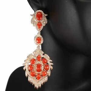 Natural-Oval-Orange-Coral-Italy-7x5mm-White-Cz-925-Sterling-Silver-Big-Earrings