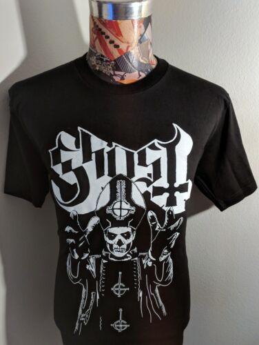 NEW GHOST SWEDISH ROCK BAND BLACK /& WHITE PAPA BISHOP SKELETON PIC BLACK T SHIRT