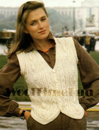 Knitting Pattern Lady/'s Aran//Cable Waistcoat 32-40 Inch Bust.