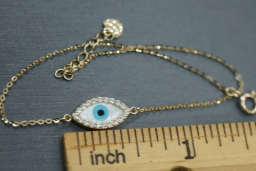 14K Solid Yellow Gold Mother Of Pearl Evil Eye With CZ Fancy Bracelet.