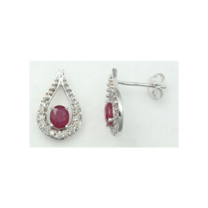 14K-White-Gold-Plated-Earring-Ruby-925-Sterling-Silver-Womens-Stud-Earrings