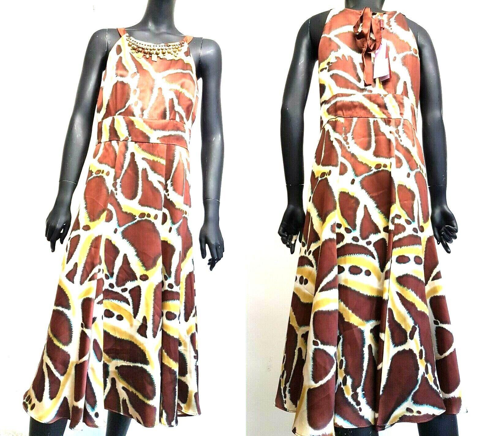Monsoon Womens Midi Dress Brown Beige Animal Print Sleeveless Silk RRP