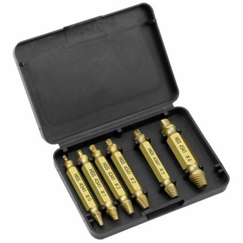 4//6Pcs Titanium Screw Extractor Drill Bits Guide Broken Damaged Bolt Remover Set