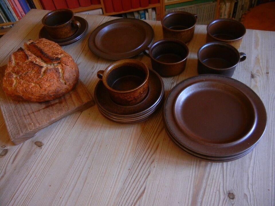 Stentøj, tekopper med sidetallerken, RUSKA - Arabia - af
