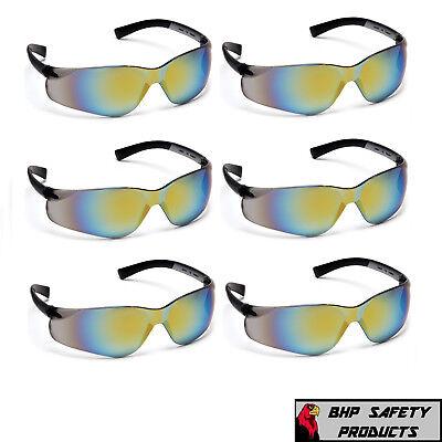 6 PAIR PYRAMEX ZTEK BLUE MIRROR SAFETY GLASSES