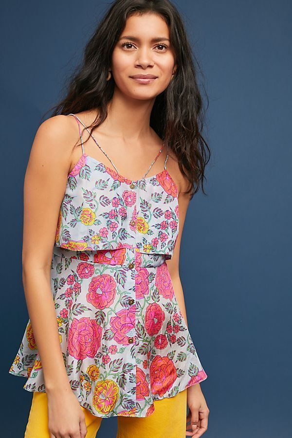 NWT Anthropologie Krishna Silk Top by Anupamaa Floral Blouse Size XL