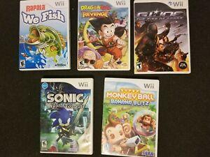 Wii-5x-Game-Lot-DBZ-Piccolo-Sonic-Super-Monkey-Ball-GI-Joe-and-We-Fish