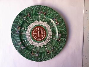 BEAUTIFUL ANTIQUE CHINESE PLATE HAND DECORATED W/ BUTTERFLYS