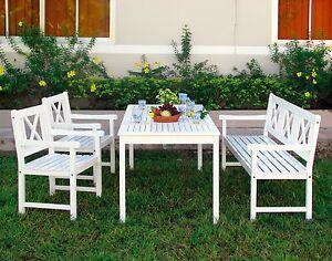 Gartenstühle holz weiß  Gartenmöbel Sitzgruppe Gartengarnitur Holz Garten Tisch Bank ...