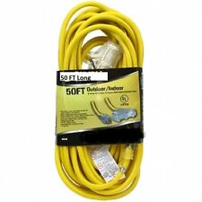 50' 10 Gauge Industrial Tri Tap Indoor Outdoor Electrical Extension Cord