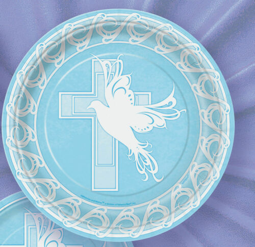 8 x placas de papel Paloma de Cruz Azul Tamaño de 18cm Comunión Bautizo Confirmación