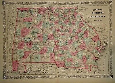 Map Of Georgia 1865.Vintage 1865 Georgia Alabama Map Old Antique Original Atlas Map 41418 Ebay