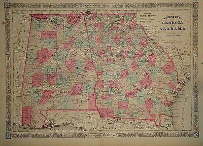 Map Of Georgia 1865.Vintage 1865 Georgia Alabama Map Old Antique Original Atlas Map 41418 Ebay