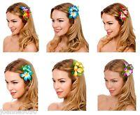 HAWAIIAN HAWAII FLOWER HULA LUAU FANCY DRESS COSTUME ACCESSORY HIBISCUS HAIRCLIP