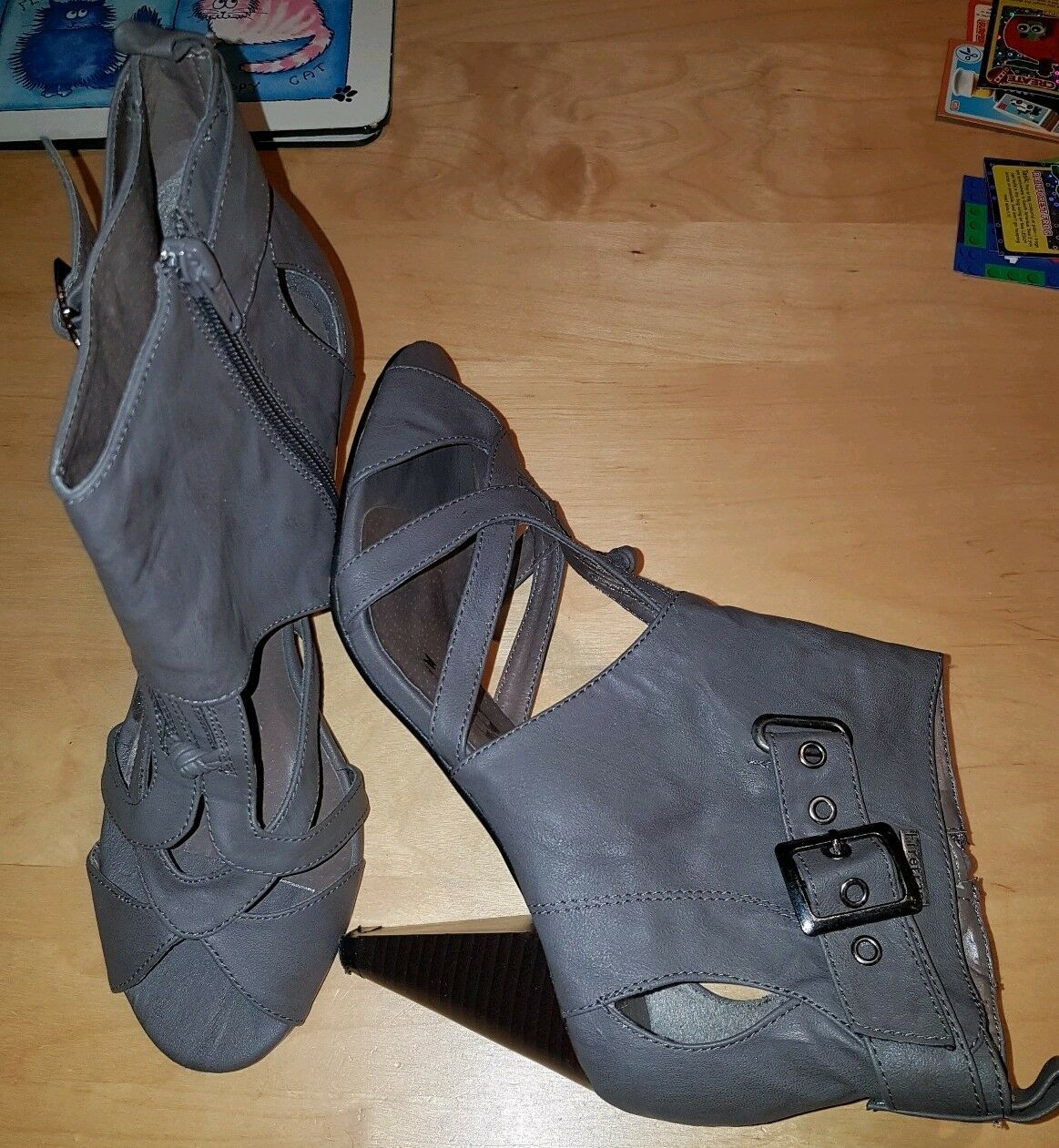 X FIRETRAP DESIGNER gris HIGH HEELED PEEP TOE ANKLE chaussures UK 6 EUR 39 WORN ONCE