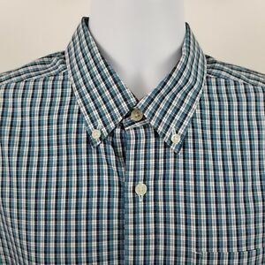 Eddie-Bauer-Wrinkle-Free-Relaxed-Mens-Blue-Black-Check-S-S-Button-Shirt-Sz-Large