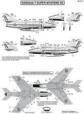 Berna Decals 1/72 DASSAULT SUPER MYSTERE B2 STENCIL DATA