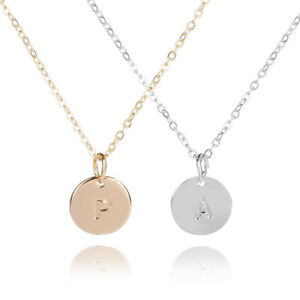 1PC-Initial-Necklace-26-Letters-from-A-Z-Alloy-Disc-Pendant-Silver-Gold-Color