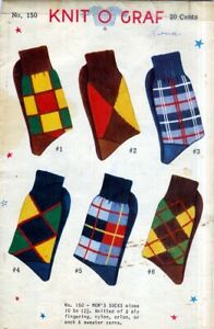 Knit O Graf 1950s Knitting Pattern Men's Socks Argyle ...